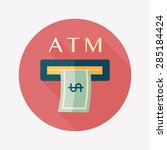 atm flat icon with long shadow