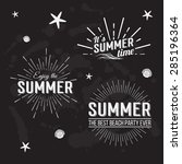 retro elements for summer... | Shutterstock .eps vector #285196364