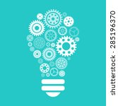 light bulb of gears and cogs.... | Shutterstock .eps vector #285196370