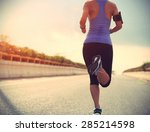runner athlete running on road. ... | Shutterstock . vector #285214598