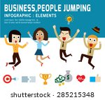 happy people jumping... | Shutterstock .eps vector #285215348