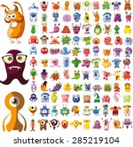 Large vector set of drawings of different characters isolated monsters, robots, germs, bacteria, aliens and other Halloween characters for your design, prints and banners | Shutterstock vector #285219104
