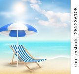 beach with sun beach umbrella... | Shutterstock .eps vector #285236108