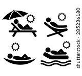 summer relax sunbathing... | Shutterstock .eps vector #285236180
