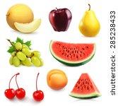 Summer Fruits  Set Of Vector...