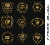 set of gold luxury floral vip... | Shutterstock .eps vector #285238688