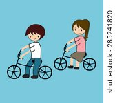 family cycling | Shutterstock .eps vector #285241820