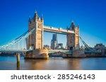 Tower Bridge At Sunrise With...
