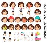 set of cartoon female manager... | Shutterstock .eps vector #285254420