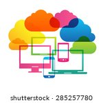 cloud computing concept. bright ... | Shutterstock .eps vector #285257780