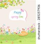 happy spring time vector... | Shutterstock .eps vector #285257936