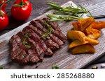 delicious beef steak with...   Shutterstock . vector #285268880