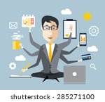 businessman with multitasking... | Shutterstock .eps vector #285271100