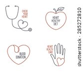 set of linear medical icons and ... | Shutterstock .eps vector #285272810