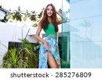 fashion summer portrait of... | Shutterstock . vector #285276809