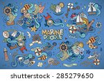 marine nautical hand drawn... | Shutterstock .eps vector #285279650