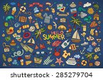 Summer Beach Hand Drawn Vector...