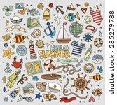 marine nautical hand drawn... | Shutterstock .eps vector #285279788