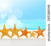 five star. summer beach. | Shutterstock . vector #285288548
