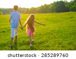 children walking on a beautiful ... | Shutterstock . vector #285289760
