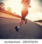 young woman runner  running on... | Shutterstock . vector #285293234