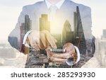double exposure of success... | Shutterstock . vector #285293930