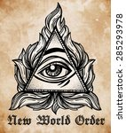 all seeing eye pyramid symbol.... | Shutterstock .eps vector #285293978