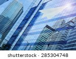 airplane paper flying on window ... | Shutterstock . vector #285304748