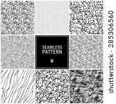 set of wave seamless pattern.... | Shutterstock .eps vector #285306560