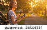 traveler woman using tablet on...   Shutterstock . vector #285309554