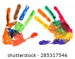 close up of colored hand print... | Shutterstock .eps vector #285317546