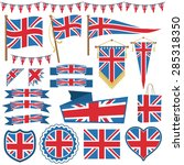 set of uk flag decorations with ... | Shutterstock .eps vector #285318350