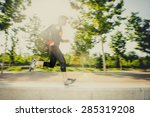 motion blur image of young man... | Shutterstock . vector #285319208