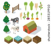 Isometric Farm In Village....