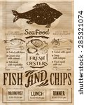 fish and chips poster. menu for ... | Shutterstock .eps vector #285321074
