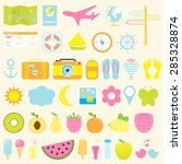 summer icon set. flat icons set ... | Shutterstock .eps vector #285328874