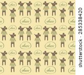 seamless pattern with mice ... | Shutterstock .eps vector #285338420