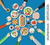 catering party with people... | Shutterstock .eps vector #285351326
