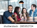 perfect beer party in a pub.... | Shutterstock . vector #285352724