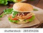 sandwich with chicken burger ... | Shutterstock . vector #285354206
