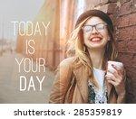 woman in the street drinking... | Shutterstock . vector #285359819