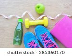 set for sports activities and... | Shutterstock . vector #285360170