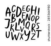 handwritten alphabet  ink hand... | Shutterstock .eps vector #285366980