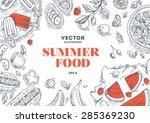 Summer Food Frame. Linear...
