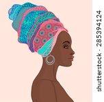 portrait of beautiful african...   Shutterstock .eps vector #285394124