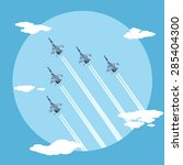 picture of five fighter planes... | Shutterstock .eps vector #285404300