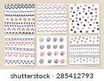 hand drawn line border set.... | Shutterstock .eps vector #285412793