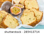 Passion Fruit Cake - Cake made with passion fruit juice. Traditional Brazilian dessert. - stock photo