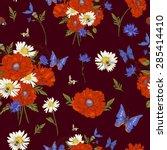 summer vintage floral seamless... | Shutterstock .eps vector #285414410