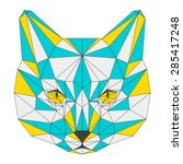 abstract geometric cat portrait.... | Shutterstock .eps vector #285417248